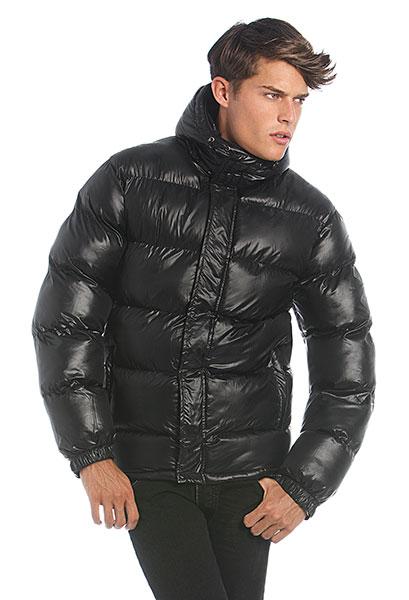 B&C Pánská zimní bunda s kapucí B&C Černá L