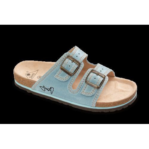 Jasný Dámské zdravotní dvoupáskové pantofle Modrá 35