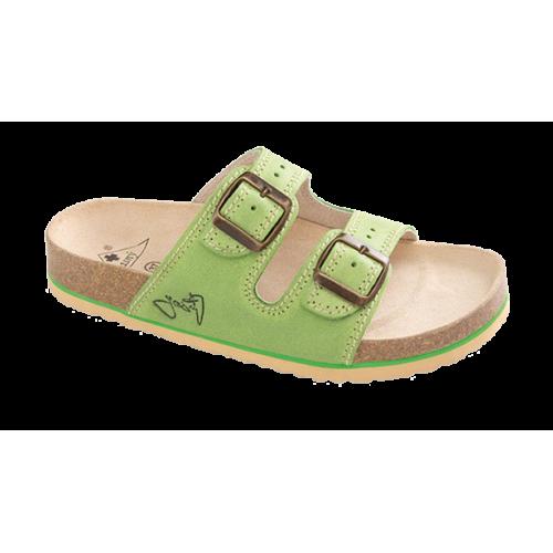 Jasný Dámské zdravotní dvoupáskové pantofle Zelená 35