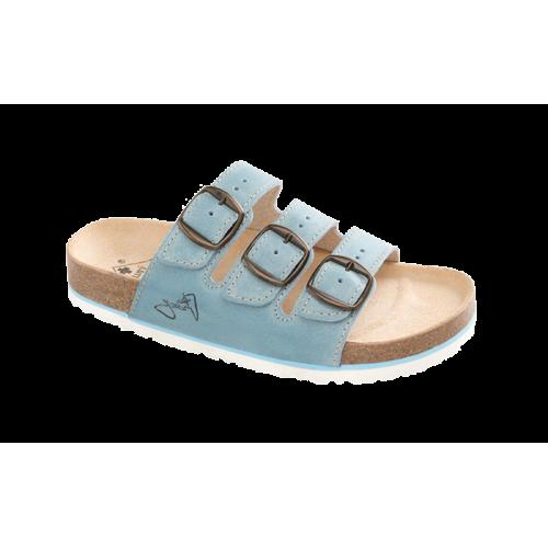 Jasný Dámské zdravotní třípáskové pantofle Modrá 35