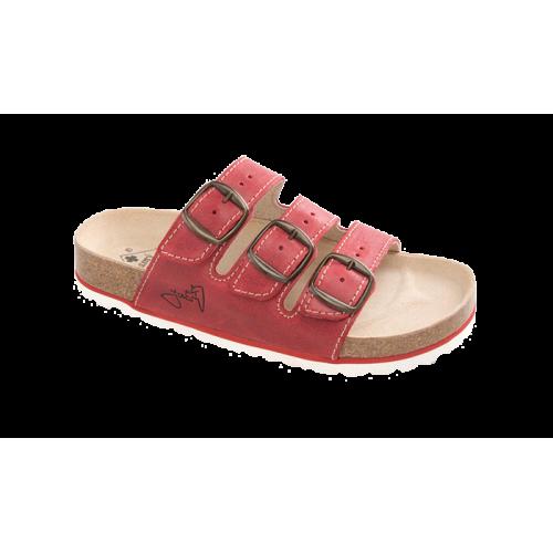 Jasný Dámské zdravotní třípáskové pantofle Červená 35