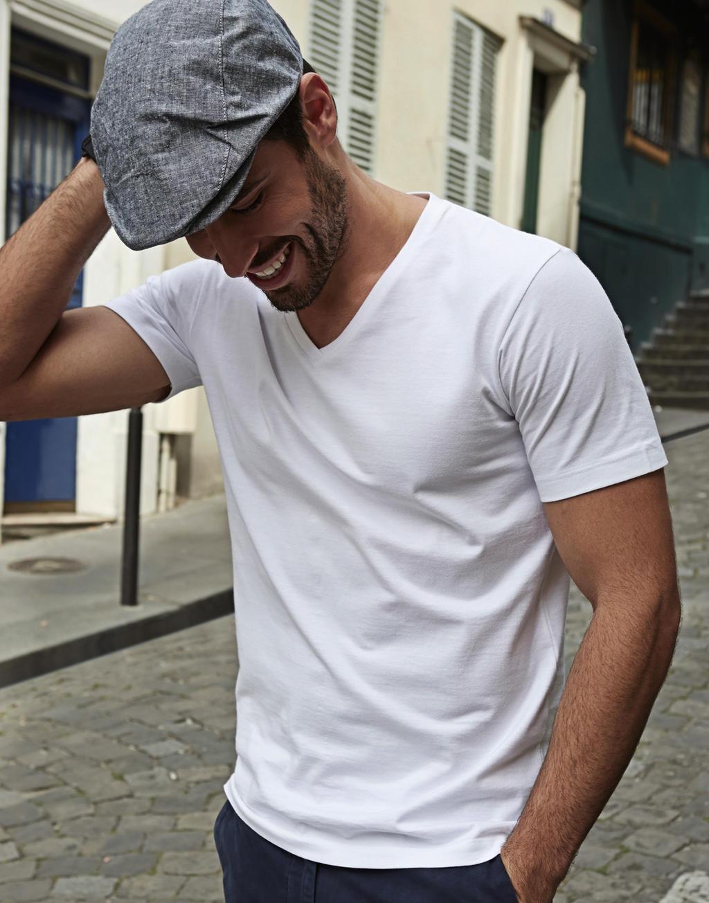 Tee Jays Pánské módní tričko s krátkým rukávem a výstřihem do V Tee Jays Černá S