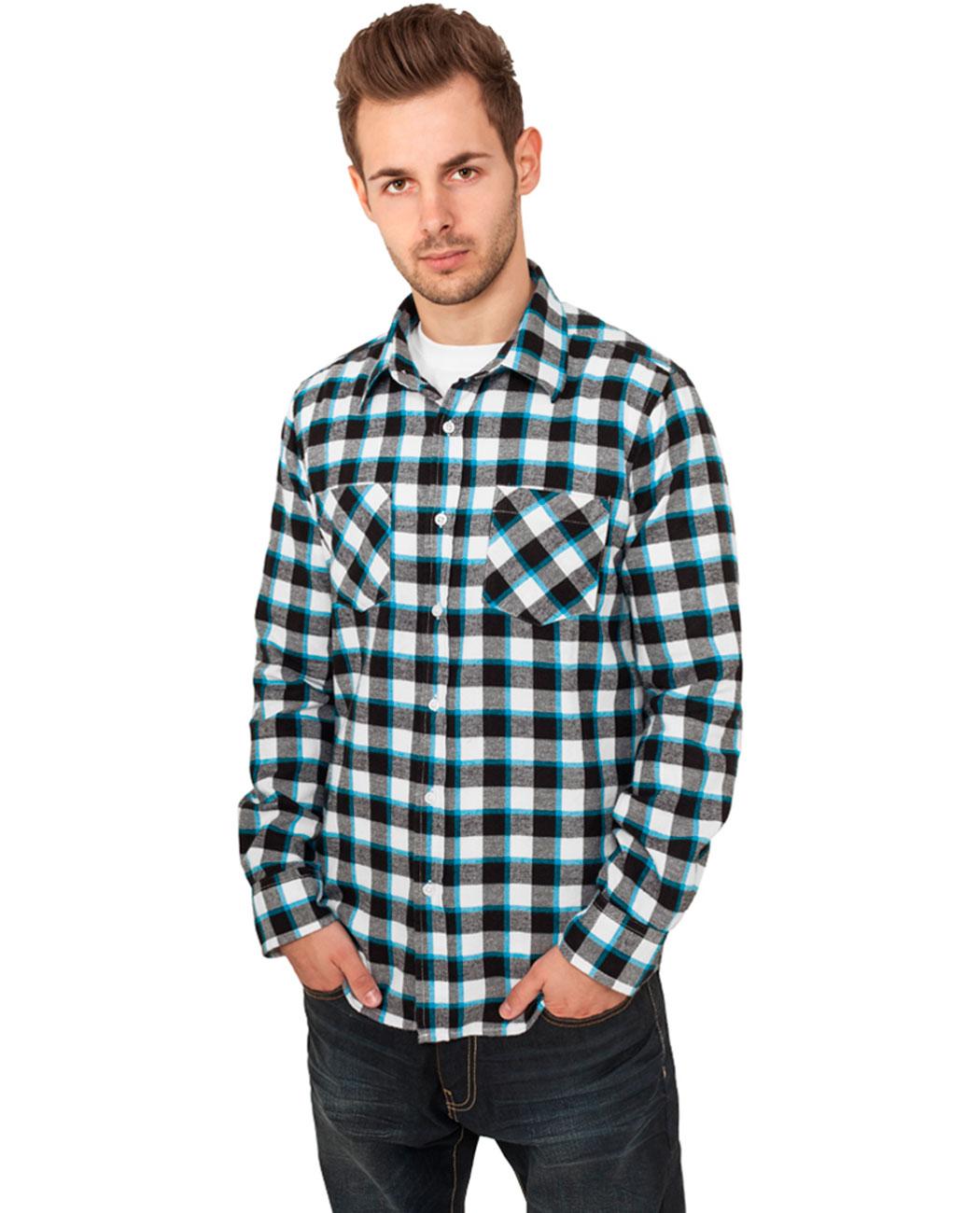 Urban Classics Pánská flanelová košile URBAN CLASSICS TB411 Černá / Bílá / Limetková zelená S