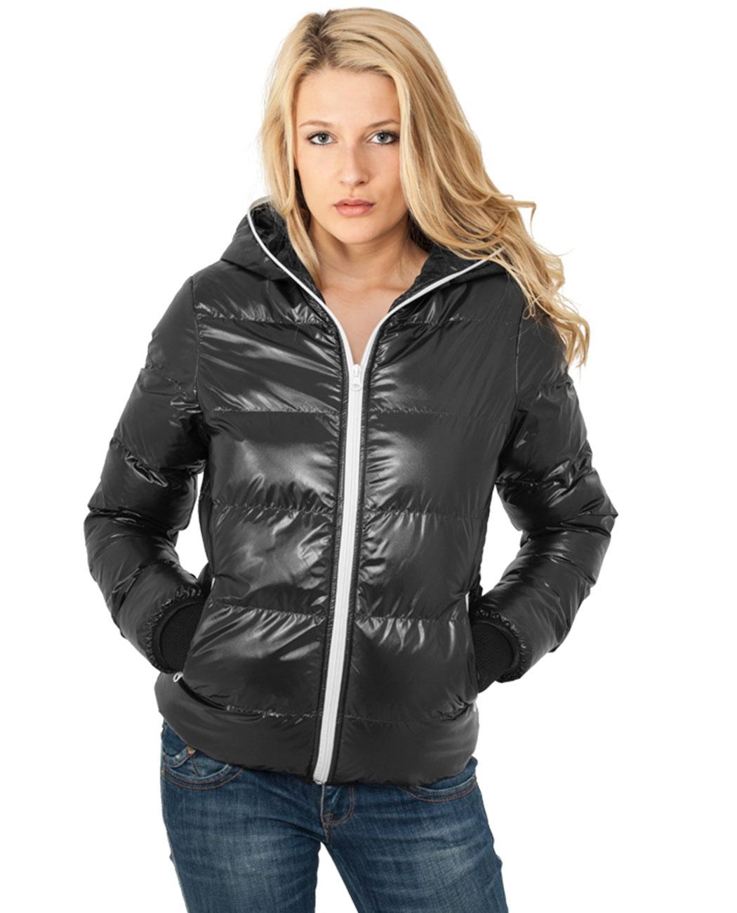 Urban Classics Dámská lesklá zimní bunda s kapucí URBAN CLASSICS TB618 Černá / Bílá XS
