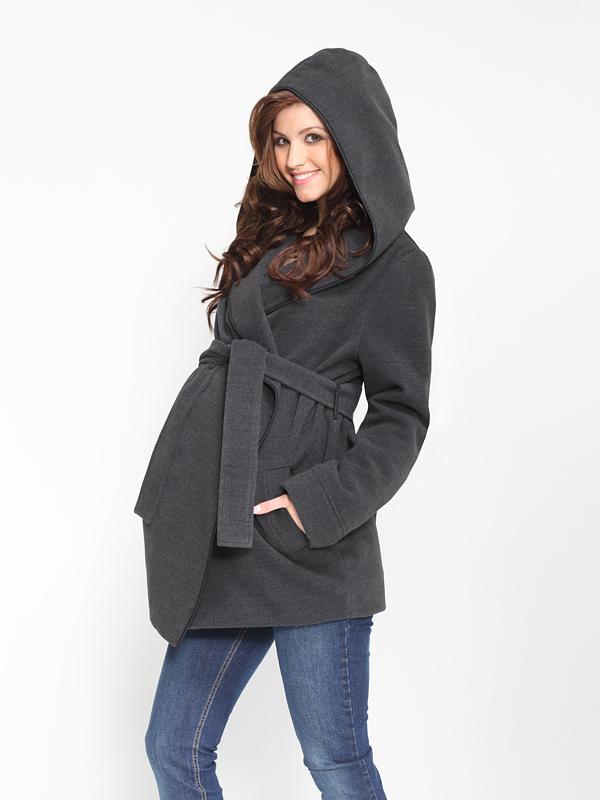9 Fashion Těhotenský kabát s kapucí Akrox Tmavá antracitová S