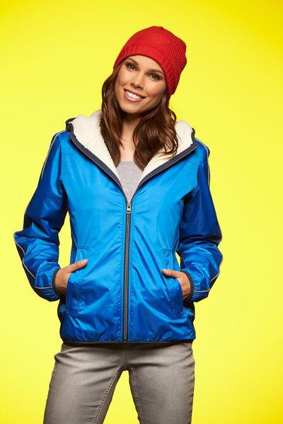 James & Nicholson Dámská zimní bunda s kapucí James & Nicholson JN1103 Námořnická modrá XXL