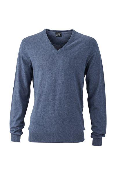 James & Nicholson Pánský svetr s výstřihem do V James & Nicholson JN664 Námořnická modrá L