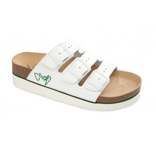Jasný Zdravotní pantofle na klínku třípáskové Bílá 35