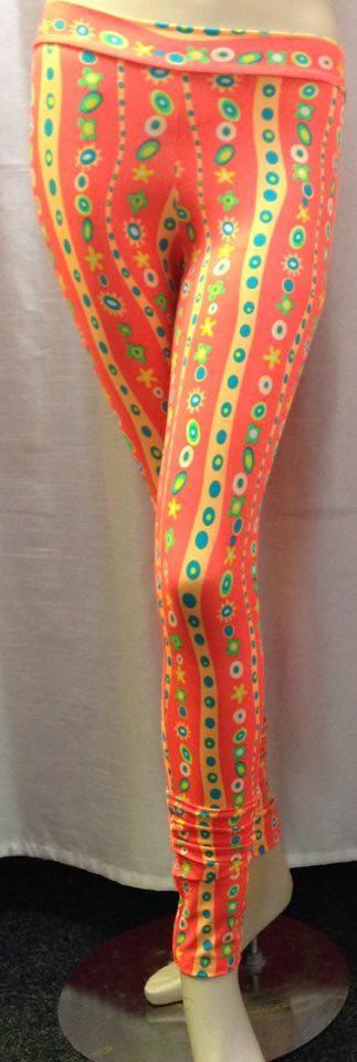 Dámské dlouhé legíny se vzorem - oranžová Oranžová S/M