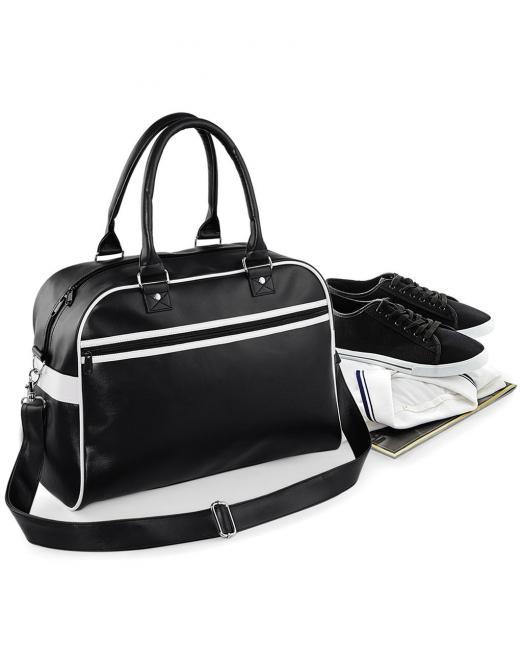 Bag Base Originální retro taška Bowling 037.29 BAG BASE Černá / Bílá