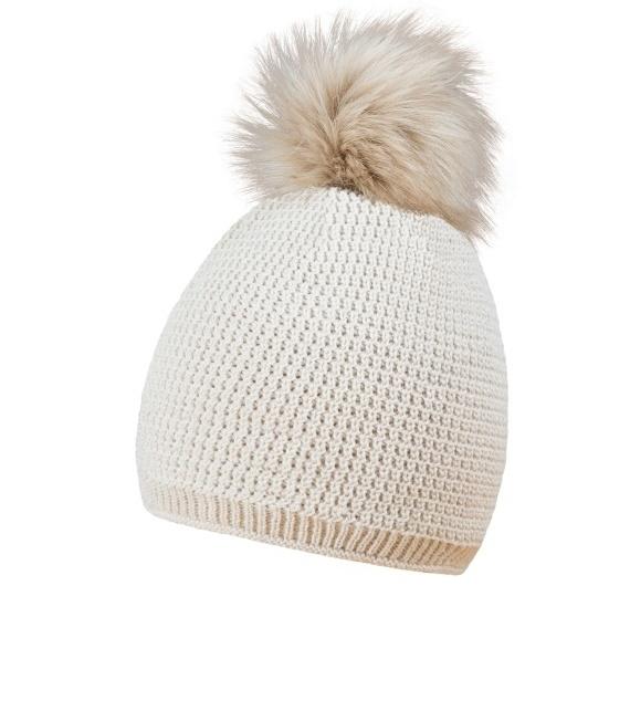 coFEE Zimní čepice Smart fur s kožešinovou bambulí Cofee Šedá