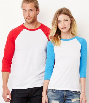 Unisex triko Triblend 3/4 Sleeve Baseball Tee Bella Canvas