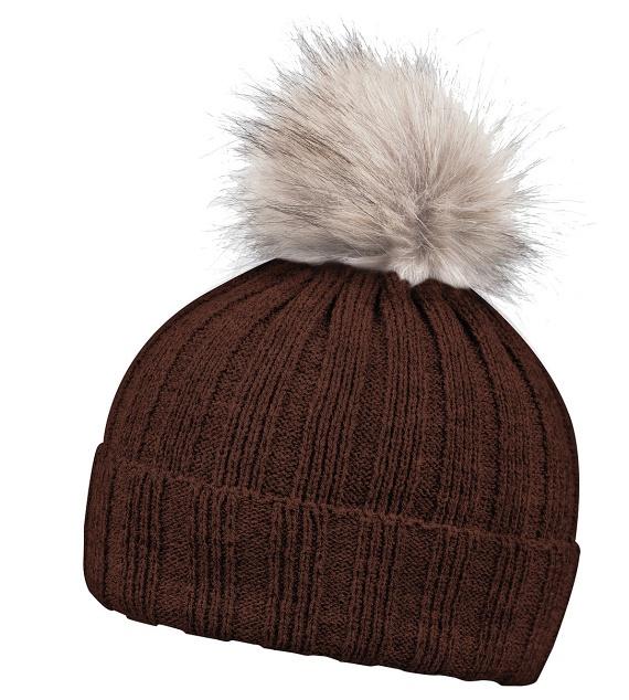 5112bb4131f Pextex.cz - Zimní kulíšek s kožešinovou bambulí Rib fur Coffe